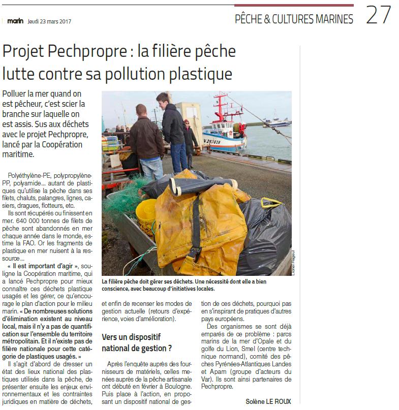 Article du journal Le Marin :  Projet PECHPROPRE : la filière pêche lutte contre sa pollution plastique
